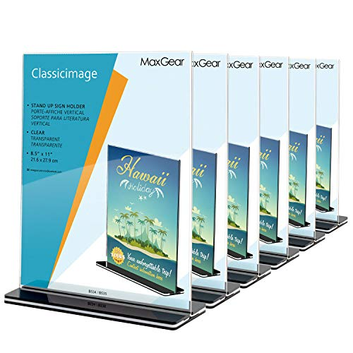 MaxGear Acrylic Sign Holder 8.5 x 11 - Acrylic T Shape Table Top Display Stand, Double Sided, Bottom Load, Portrait Style Menu Ad Frame. Perfect for Restaurants, Office, Photo Frames, Store (6 Pack)