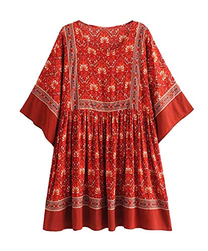 R.Vivimos Women's Summer Cotton Half Sleeve Casual Loose Bohemian Floral Tunic Dresses (Large, Red)