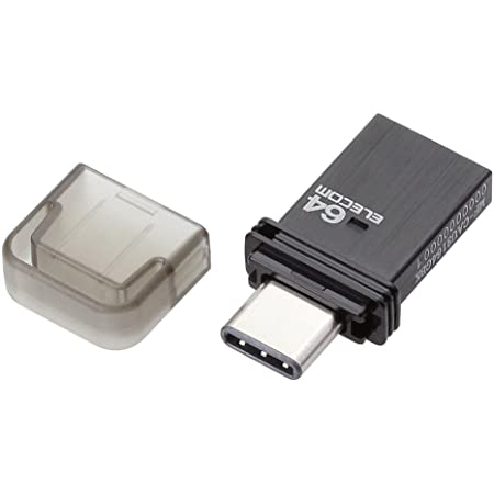 エレコム USBメモリ 64GB USB3.0 タイプC キャップ付 ブラック MF-CAU3164GBK