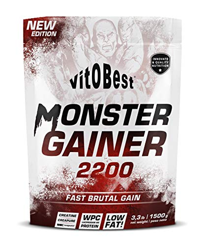 Carbohidratos MONSTER GAINER 2200 - Suplementos Alimentación y Suplementos Deportivos - Vitobest (Fresa, 1,5 Kg)