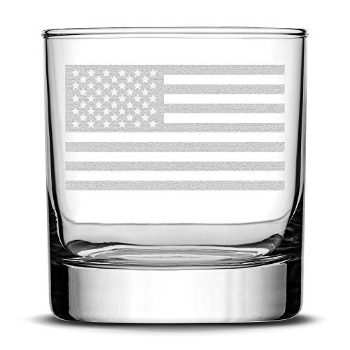 Integrity Bottles Premium American Flag Whiskey Glass, Hand Etched Old Glory 10oz Rocks Glass, Made in USA, Highball Gifts, Sand Carved