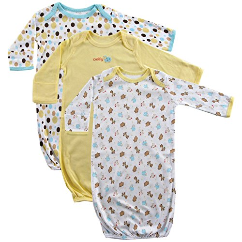 Luvable Friends Unisex Baby Cotton Gowns, Yellow, 0-6 Months