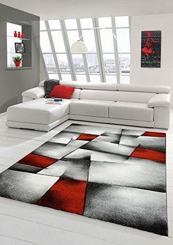 Designer Teppich Moderner Teppich Wohnzimmer Teppich Kurzflor Teppich mit Konturenschnitt Karo Muster Rot Grau Weiß Schwarz (200 cm Quadrat)