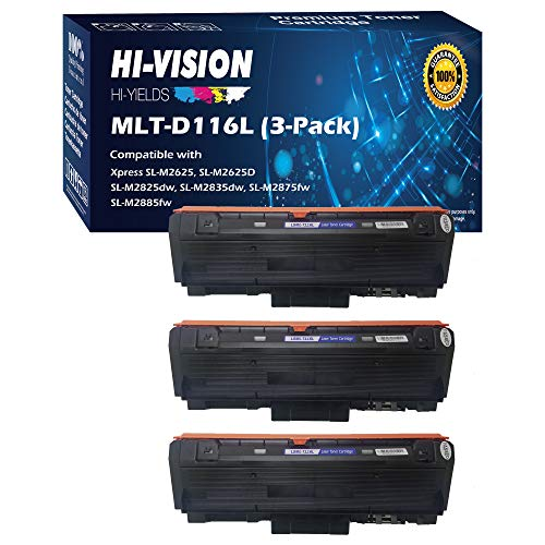 Price comparison product image HI-Vision Compatible Samsung MLT-D116L High Yield Black Toner Cartridge Replacement for Xpress M2885FW,  M2835DW,  M2825FD,  M2875FW,  M2875FD,  M2625D Laser Printers (3 Packs)