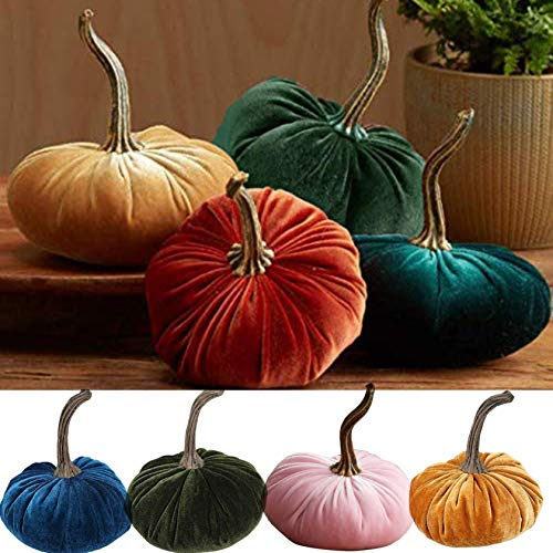 toasye 1PC Herbstblätter Deko,Herbstdeko Aussen Kürbis Halloween Handmade Velvet Pumpkins Decor Herbstdeko Kürbis für Herbst Halloween Thanksgiving (Orange)