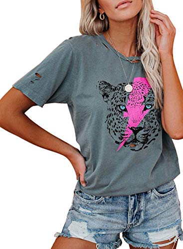 AlvaQ Women Summer Round Neck Shirt Casual Loose Ripped Hole Tshirts Tiger Graphic Print Tops Blouses Grey Small
