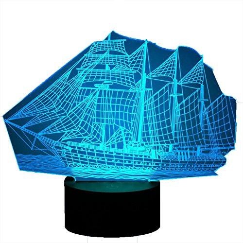 Creative 3D Sailing Boat Night Light Lamp 7 Color Change LED Touch USB Table Gift Kids Toys Decor Decorations Christmas Valentines Gift Birthday Gift