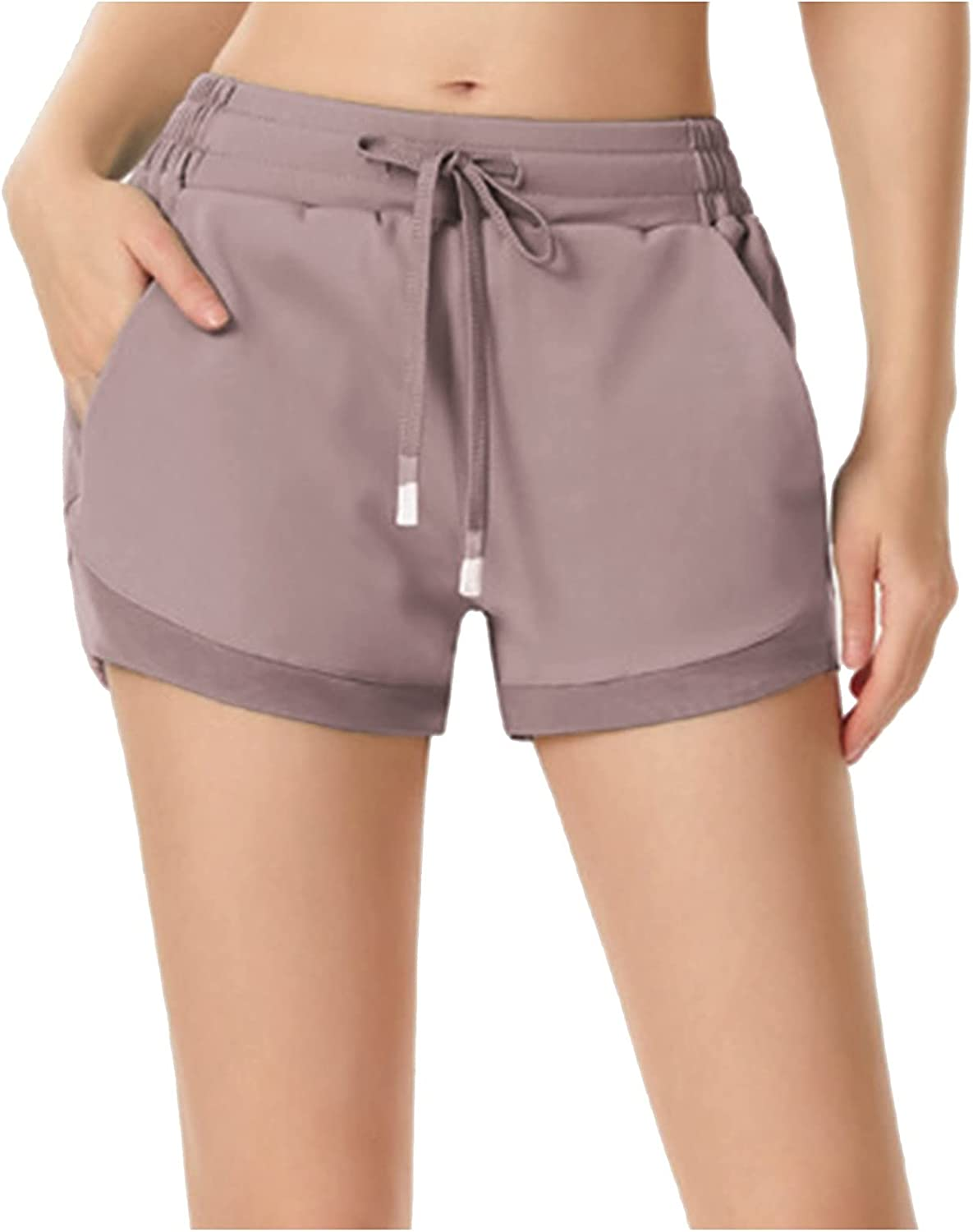 BEUU Womens High Waisted Yoga Shorts 2021, Drawstring Comfy Lounge Active Workout Running Pants with 2 Front Pockets