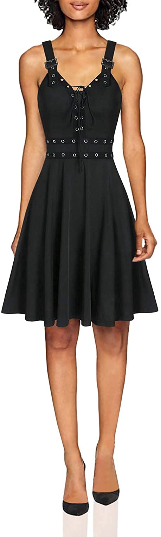 Shakumy Women Vintage Sleeveless Punk Style Bandage Swing Dress Casual Summer Plus Size Cocktail Party Tunic Mini Dress