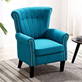 Altrobene Modern Accent Arm Chair, Tufted Fabric Club Chair for Living Room/Bedroom/Home Office, Teal