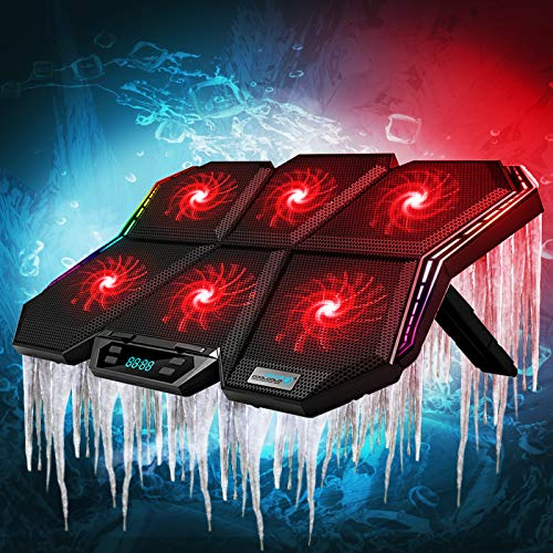 Laptop Cooling Pad,Portable Laptop Stand with 7 Angle Adjustable & 6 Quiet Red Led Fans for 12-17 Inch Gaming Laptop,RGB Laptop Fan Built-in Dual USB Ports Support Mouse(Laptop Cooling Pad + Sticker)