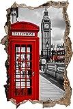 Stil.Zeit Londra Cabina telefonica a Muro Passo avanti nel Look 3D, Parete o in Formato Adesivo Porta: 92x62cm, autoadesivi della Parete, Autoadesivo della Parete, Decorazione della Parete
