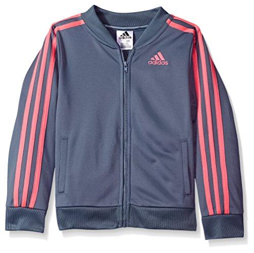 adidas Girls' Big Tricot Bomber Track Jacket, Raw Steel Adi, Large