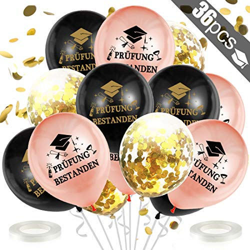 Abschlussfeier Luftballons, Prüfung Bestanden Ballon Set für Schulabschluss Abi Abitur Studium Führerschein Abschluss Graduierung Party-Roségold Schwarz