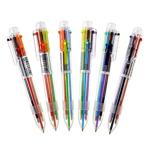 NUOLUX 6 Stück Mehrfarbige Kugelschreiber für Kinder Geburtstag Geschenk Schule Büro