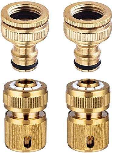 Hydrogarden Connettore rapido per Tubo Flessibile da 4 Pezzi Connettore da 1/2 Pollice e 3/4 di Pollice Dimensioni Tubo da 2 in 1 e 1/2 Pollice Connettore rapido