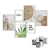 Art by Flavia 2 EN 1 | Set de 6 laminas decorativas a doble cara - anverso: beige Boho Love Collage | reverso: Pósters en blanco y negro | 4 x A3 + 2 x A4 | posters para pared – SIN MARCOS