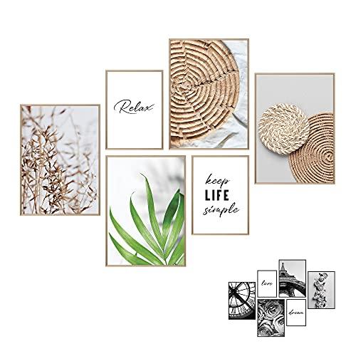 Art by Flavia 2 IN 1 | 6 dubbelsidiga poster i en snygg poster set | Framsida: Beige Boho Love Collage | Baksida svartvita | Tavelvägg väggdekor posters | Bildvägg- 4 x A3 + 2 x A4 - RAM INGÅR EJ