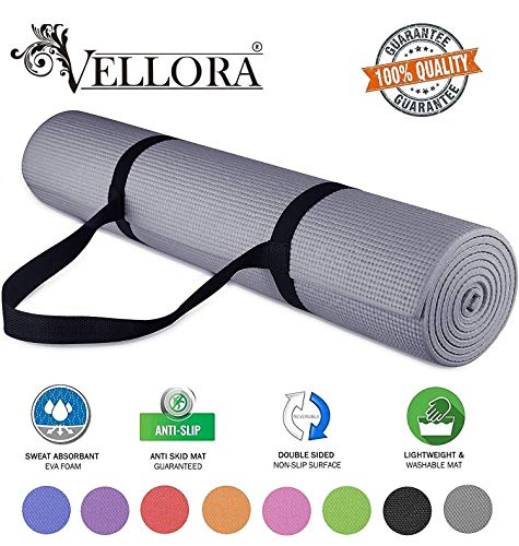 VELLORA Yoga Mat Anti Skid Yogamat for Gym Workout and Flooring Exercise - Long Size Yoga Mate for...
