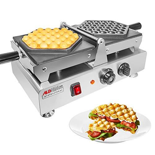 ALDKitchen Gofrera Máquina de Gofre con Forma de Huevo del Estilo de Hong Kong Waffle Maker Eléctrica Antiadherente de Acero Inoxidable con Control de Temperatura&Rotación de 180° 220V