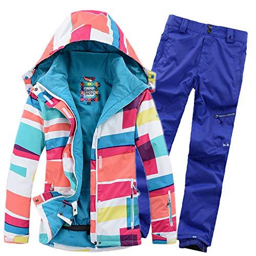 HXSKI Dames Sneeuwpak, Dik Warm Ski Kleding Winddicht en Waterdicht Outdoor Sport Rijden, Skiën, Professionele Beschermende Jas en Broek Sneeuwpak