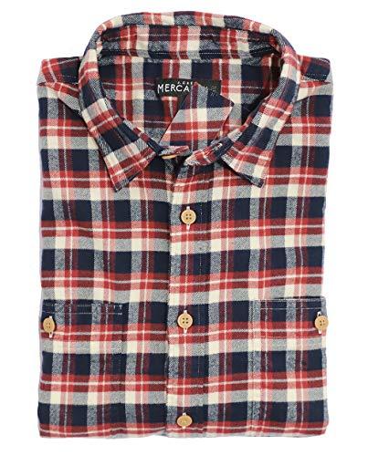 J.Crew Mercantile Men's Regular Fit Plaid Flannel Shirt (Large, Navy/Red/Cream)