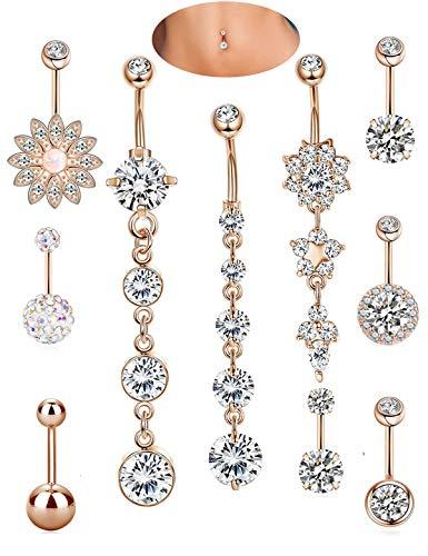 Lenias 10PCS Stainless Steel Belly Button Rings for Women Girls Navel Piercing Bars Dangle Body Jewelry