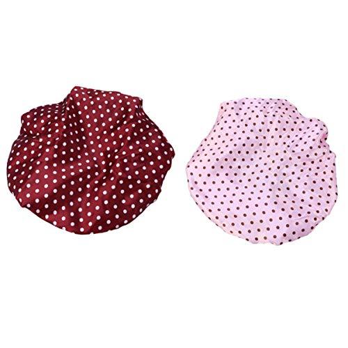 SUPVOX bonnet de douche imperméable en plastique femme 2pcs (points roses et pois rouges)