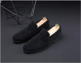 Bin Zhang Classic Oxford for Men Smoking Loafers Slip on Suede Low Heel Wear Resistant Pointed Toe Patchwork Stitching Solid Color Vegan (Color : Black, Size : 7.5 UK)