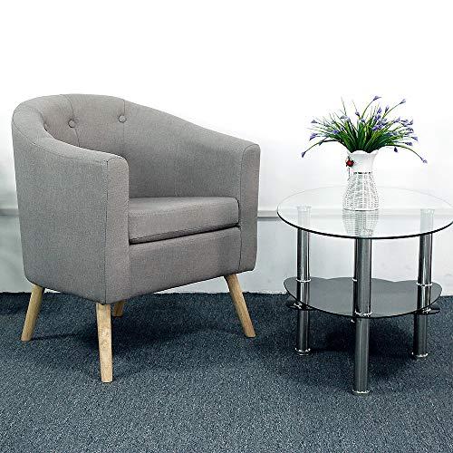 Turefans sillón de salón, butacas de Salon, sillón, Superficie de Lino + Patas de Madera Maciza, Suave y cómodo (Gris)