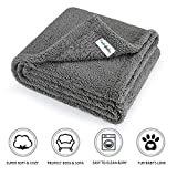 "furrybaby Premium Fluffy Fleece Dog Blanket, Soft and Warm Pet Throw for Dogs & Cats (Medium (3240""), Grey Blanket)"