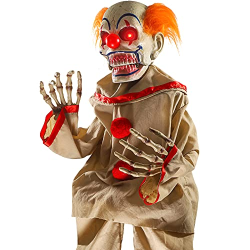 Hipykat Scary Clown Motion Activated Animatronic Light Up Eyes, Moving Arms & Head, Scary Halloween Decor Prop Indoor…
