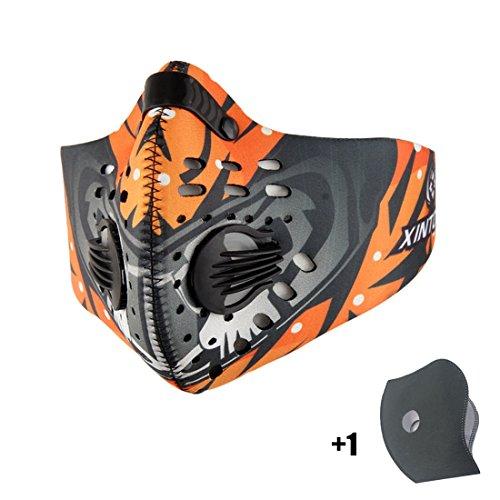Máscara de Avanigo antipolvo, antipolen, antiescapes de gas de carbono activo para deportes al aire libre (ciclismo, athletismo), naranja