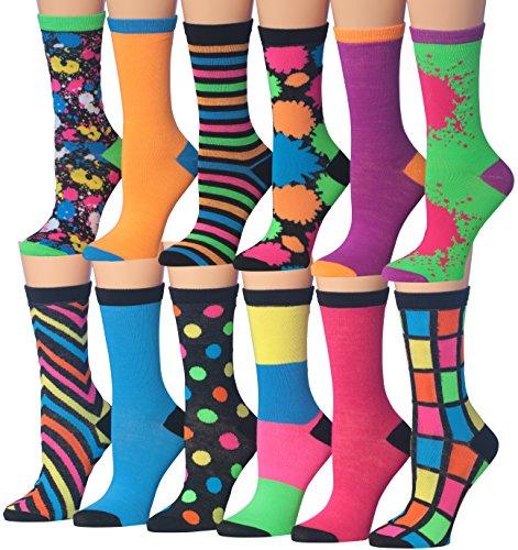 Tipi Toe Women's 12 Pairs Colorful Funky Fashion Colorblock PaintSplash Crew Dress Socks, (sock size 9-11) Fits shoe size 5-9, WC34-AB