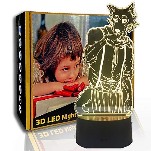 KangYD Anime Fox Human Body 3D Night Light, lámpara de ilusión LED, regalo para niños, E - Base para despertador (7 colores), Gradiente colorido, Lámpara infantil, Luz creativa