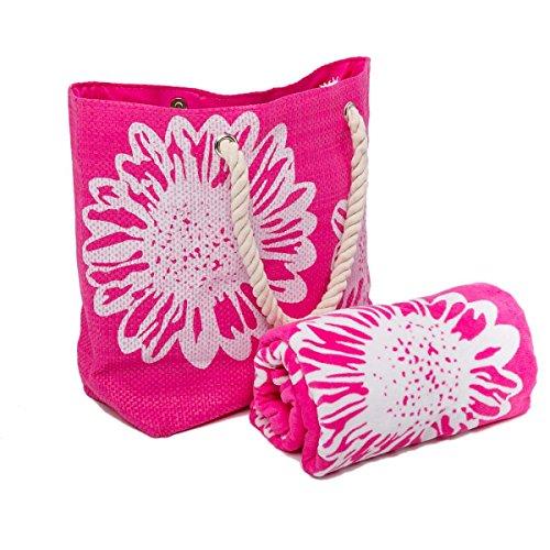 AIREE FAIREE Bolsa de Playa Para Mujer + Toalla de Playa 2 Piezas Floral