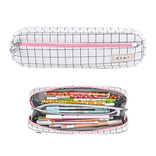 iSuperb Pencil Case Canvas Pen Bag Stylish Grid Rectangle Pencil Holder Stationery Box Office or Cosmetic Supply Organizer Bag