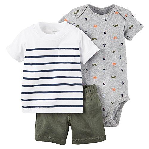 カーターズ Carter's ボディスーツ + tシャツ + パンツ 豪華3点セット 3-Piece Bodysuit & Shorts Set 24M (83-86cm) [並行輸入品]