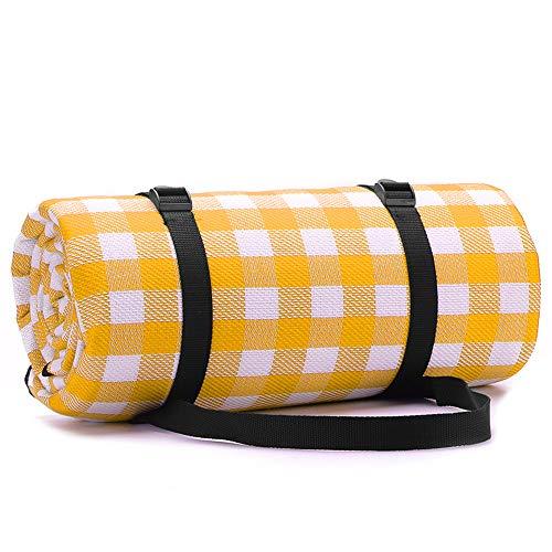 Simpeak Picknickdecke Wasserdicht Outdoor 200x200, Picknickdecke Wärmeisoliert für Strände/Picknicks/Parks/Camping und Outdoor-Aktivitäten Picknick Matte - Gelb/Weiß