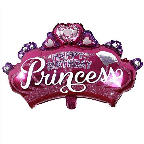 Zhouba Kids Favors Birthday party supplies gonfiabile a forma di corona da principessa palloncino foil, carta stagnola alluminio, Red, taglia unica