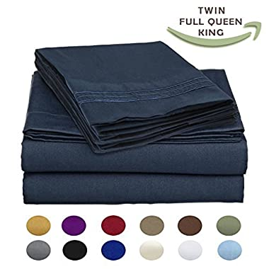 Luxury Egyptian Comfort Wrinkle-Free 1800 Thread Count 4 Piece Queen Size Sheet Set, Blue Color