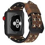 MroTech Uhrenarmband Ersatz für iWatch Armband 42mm echt Lederarmband 44mm Watch Band Ersatzarmband kompatibel für iWatch Serie 1 2 3 4, Sport Edition Nike+ (42 mm / 44 mm, Kaffee-Schwarz)