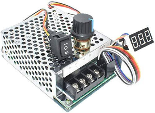 DC Motor Speed Controller, DC 10-55V/60A, LED Display Stepless Motor Controller with Adjustable Potentiometer and Forward-Brake-Reverse Switch