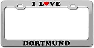 Product Express I Love Dortmund Germany Traveling Chrome License Plate Frame Tag Border