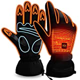 Rabbitroom Unisex Electric Heated Gloves Rechargeable Battery Windproof Touchscreen Texting Warm Winter Thermal