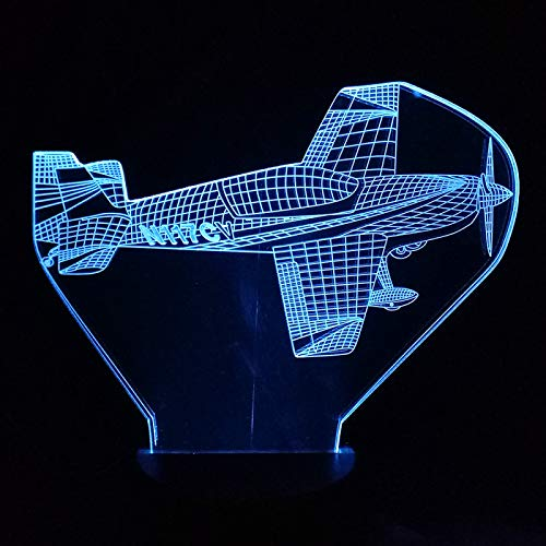KangYD Propeller Air Plane 3D Night Light, LED Optical Illusion Lamp, D - Remote Crack White(16 Color), Gift for Child, Warm Lamp, Atmosphere Lamp, Gift for Boy, Bedside Lamp