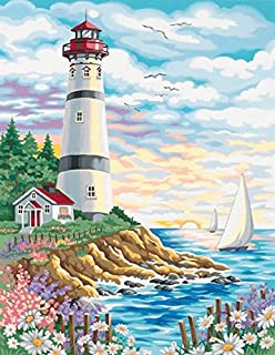 Dimensions Lighthouse at Sunrise Paint by Numbers for Adults, 11'' W x 14'' L