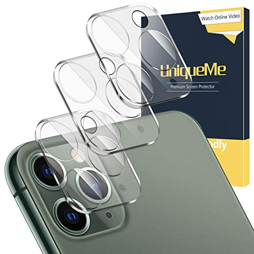 UniqueMe [3 Piezas] Protector de Pantalla de Lente de Cámara para iPhone 11 Pro/iPhone 11 Pro MAX, [9H Dureza] [HD Film] [Anti-Mancha] Cristal Vidrio Templado de Lente de Cámara Premium