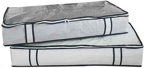 GOTTING Sous lit tiroir de rangement Organisateur non tissé PVC Boîte de rangement pour les vêtements/Couvertures/Chaussures