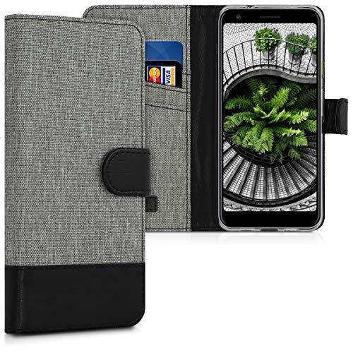 kwmobile Hülle kompatibel mit Google Pixel 3a - Kunstleder Wallet Hülle mit Kartenfächern Stand in Grau Schwarz